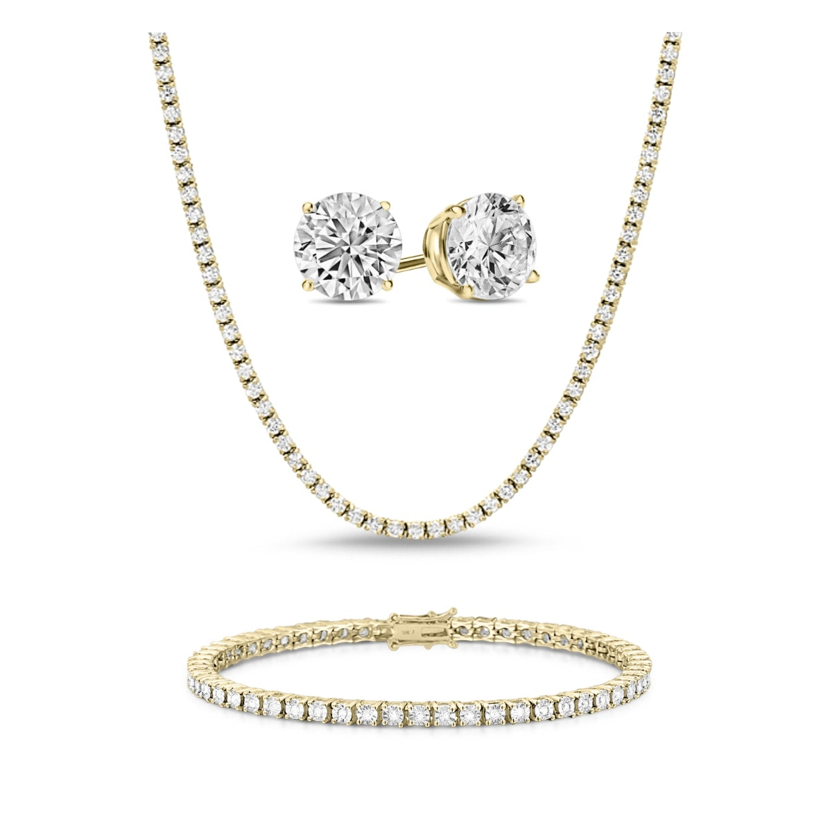 [PROMO SET] Monette 4 Prong Necklace Bracelet Earrings Diamond Set in 18k Gold Vermeil