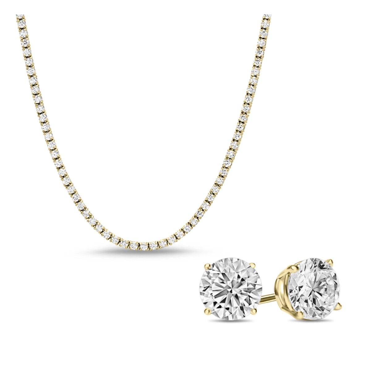 [PROMO SET] Monette 4 Prong Necklace Earrings Diamond Set in 18k Gold Vermeil
