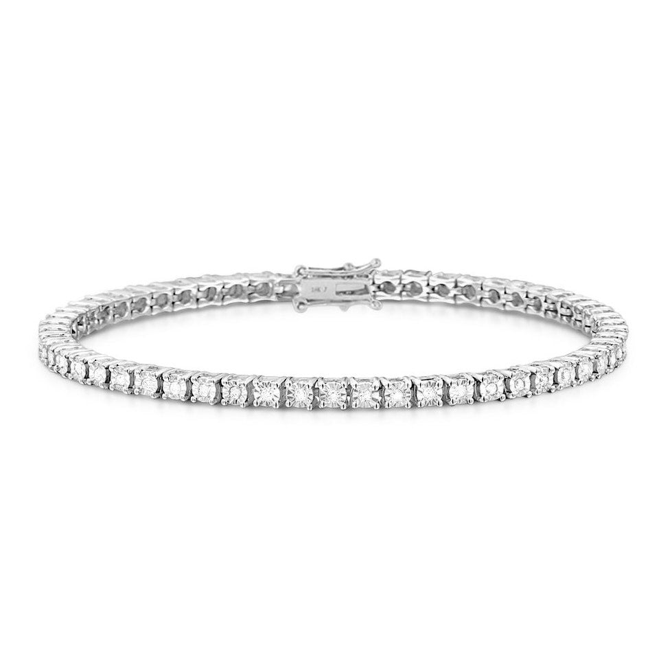 Monette 4 Prong Diamond Bracelet in 18k White Gold Vermeil