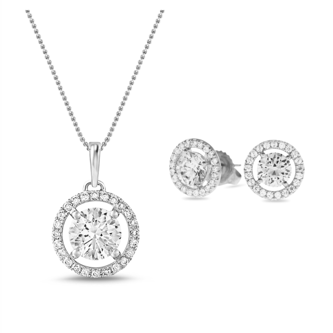 [PROMO BUNDLE] Celeste Halo Necklace Earrings Diamond Set