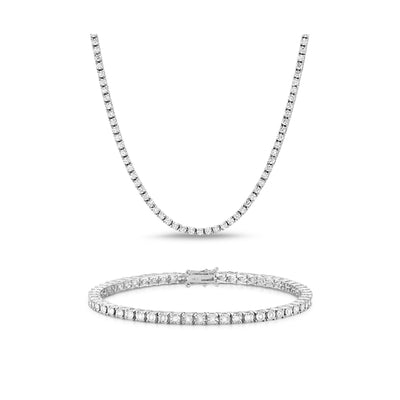 [PROMO SET] Monette 4 Prong Necklace Bracelet Diamond Set in 18k White Gold Vermeil