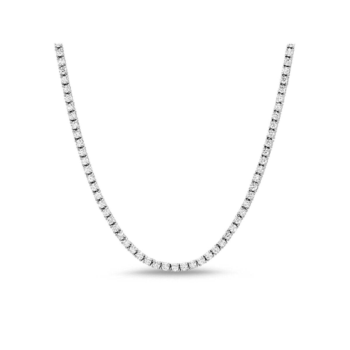 Monette 4 Prong Diamond Necklace in 18k White Gold Vermeil