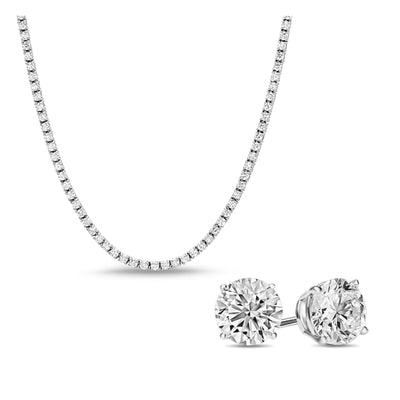 [PROMO SET] Monette 4 Prong Necklace Earrings Diamond Set in 18k White Gold Vermeil