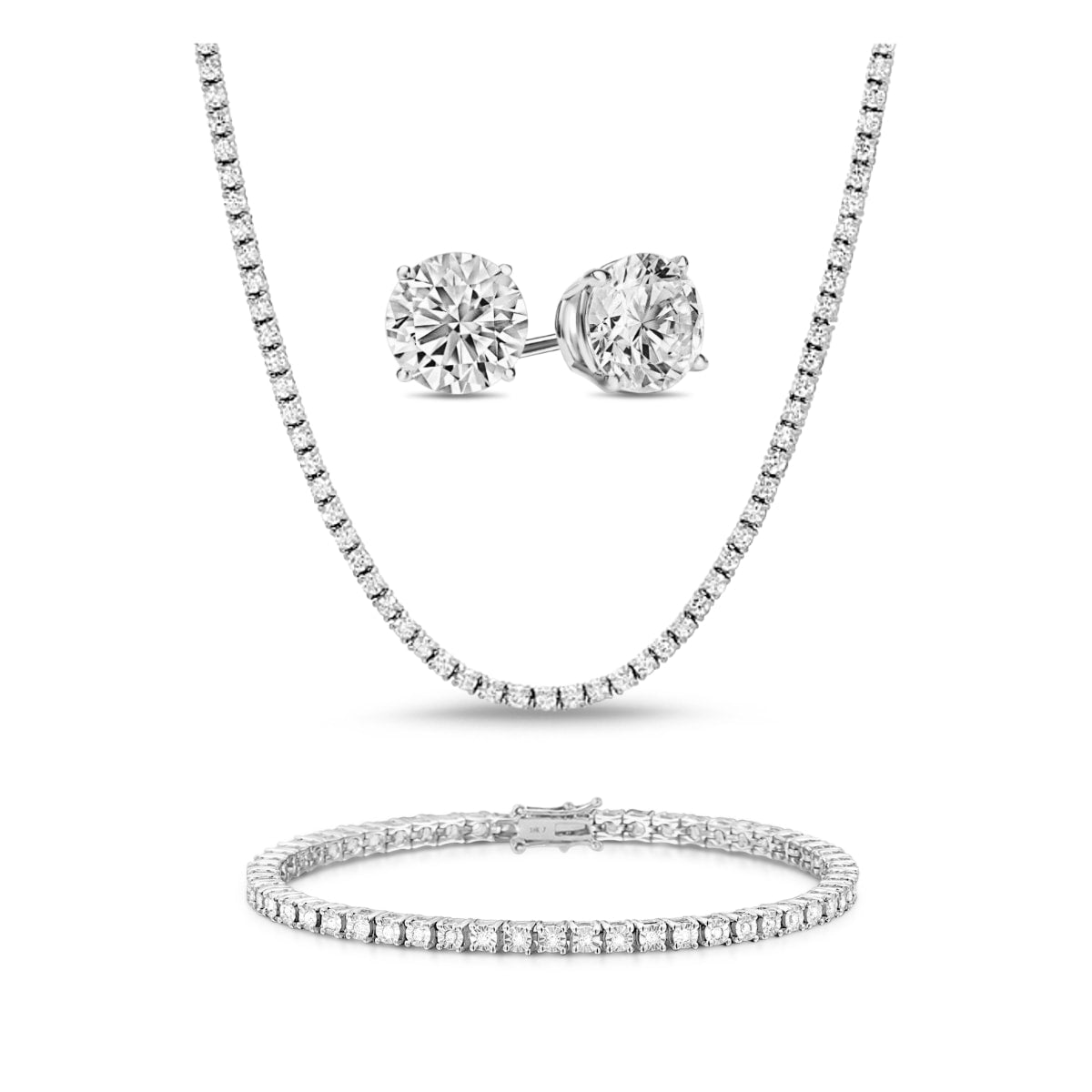 [PROMO SET] Monette 4 Prong Necklace Bracelet Earrings Diamond Set in 18k White Gold Vermeil