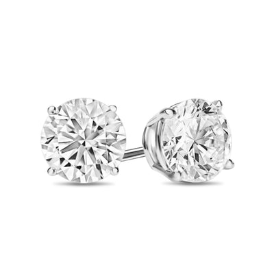 Giovanni 4 Prong Diamond Earrings in 18k White Gold Vermeil