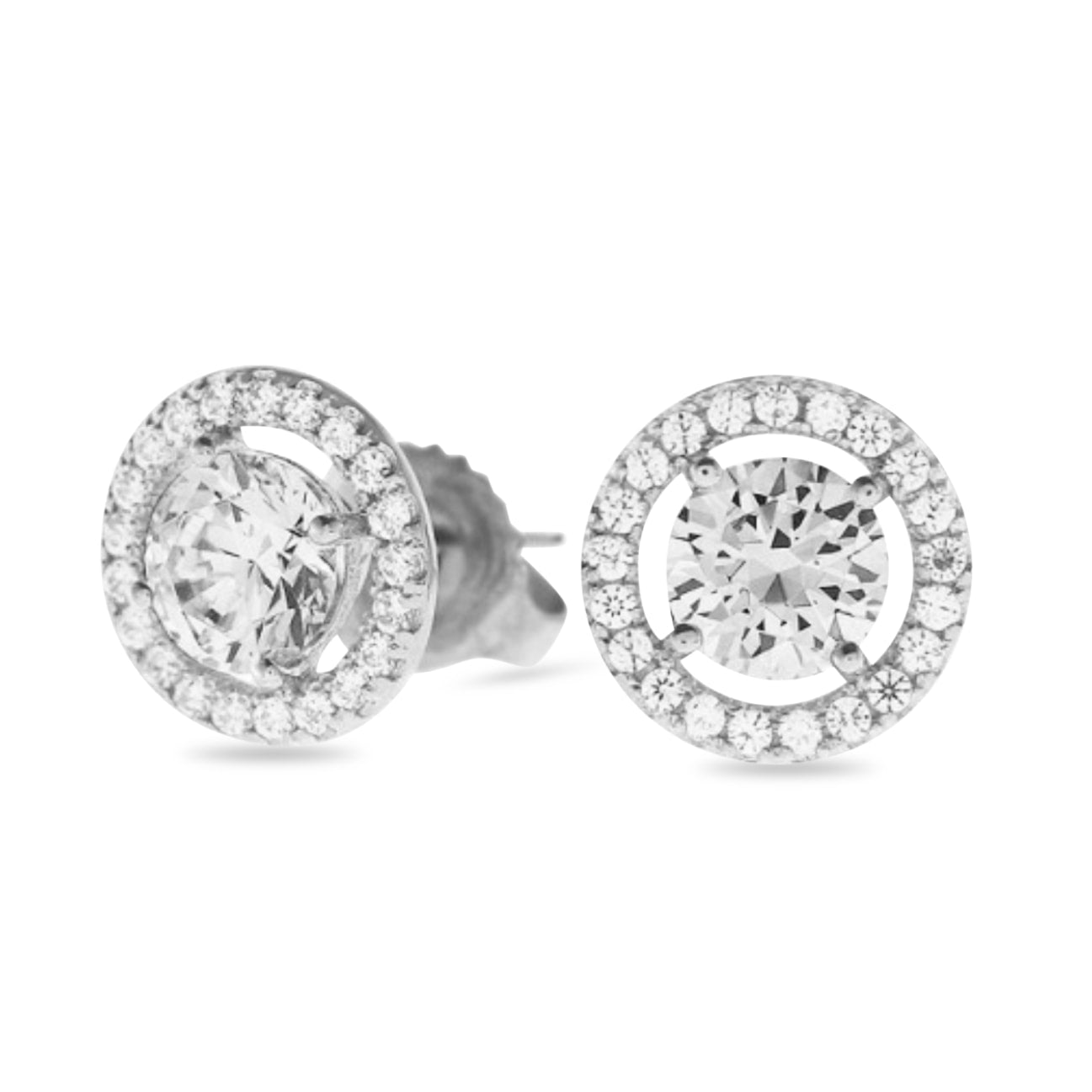 Celeste Halo Diamond Earrings in 18k White Gold Vermeil