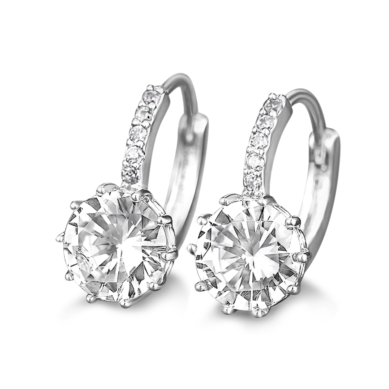 Quinn Leverback Diamond Earrings in 18k White Gold Vermeil