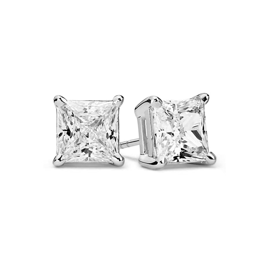 Lilith Princess Diamond Earrings in 18k White Gold Vermeil