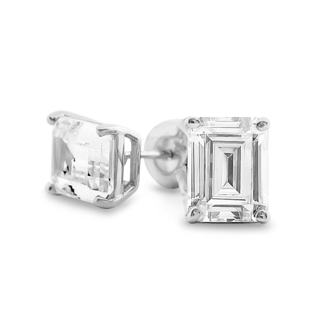 Hamilton Emerald Diamond Earrings in 18k White Gold Vermeil