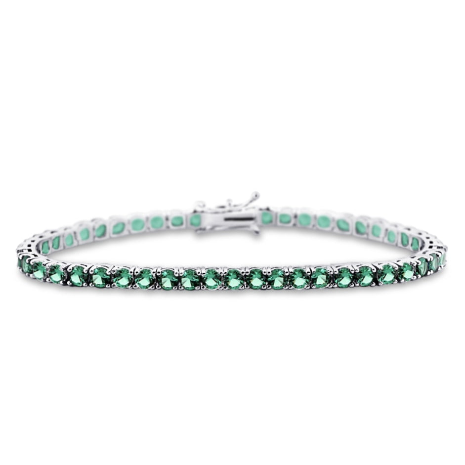 Aurelie Gemstone Diamond Bracelet in 18k White Gold Vermeil