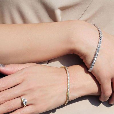Hariette Princess Diamond Bracelet in 18k White Gold Vermeil
