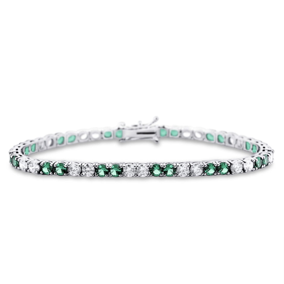 Estrelle Gemstone Diamond Bracelet in 18k White Gold Vermeil