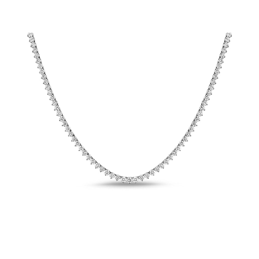 Vivere 3 Prong Diamond Necklace in 18k White Gold Vermeil