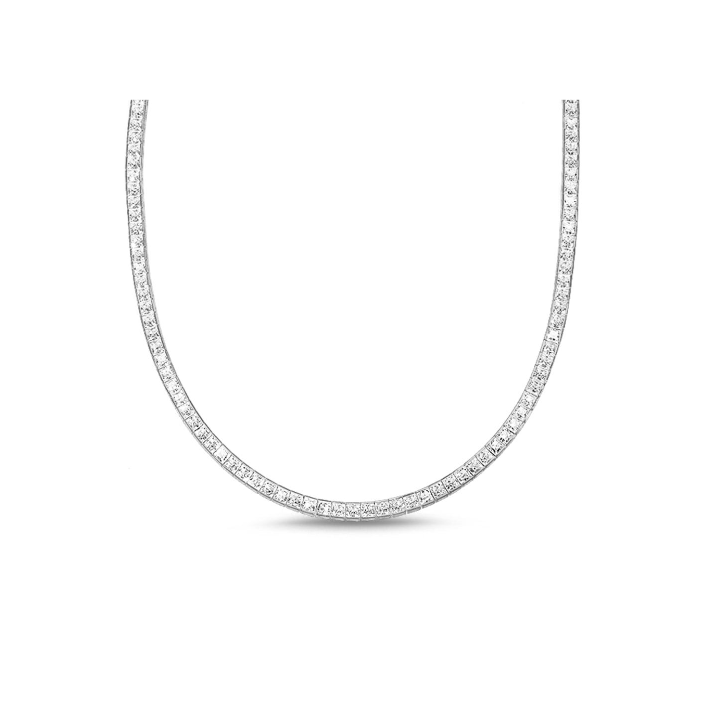 Hariette Princess Diamond Necklace in 18k White Gold Vermeil