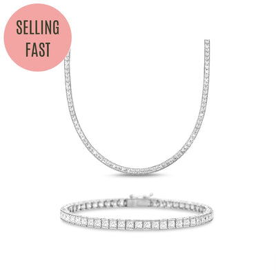 [PROMO SET] Hariette Princess Necklace Bracelet Diamond Set