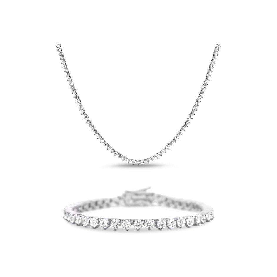 [PROMO SET] Vivere 3 Prong Necklace Bracelet Diamond Set in 18k White Gold Vermeil
