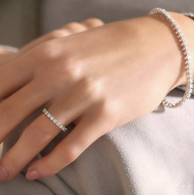 Moire Half Eternity Diamond Ring in 18k White Gold Vermeil