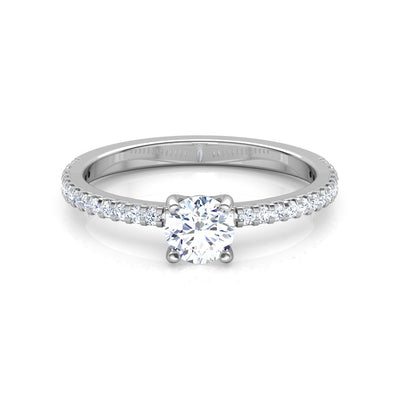 Cirrus 4 Prong Solitaire Diamond Ring in 18k White Gold Vermeil