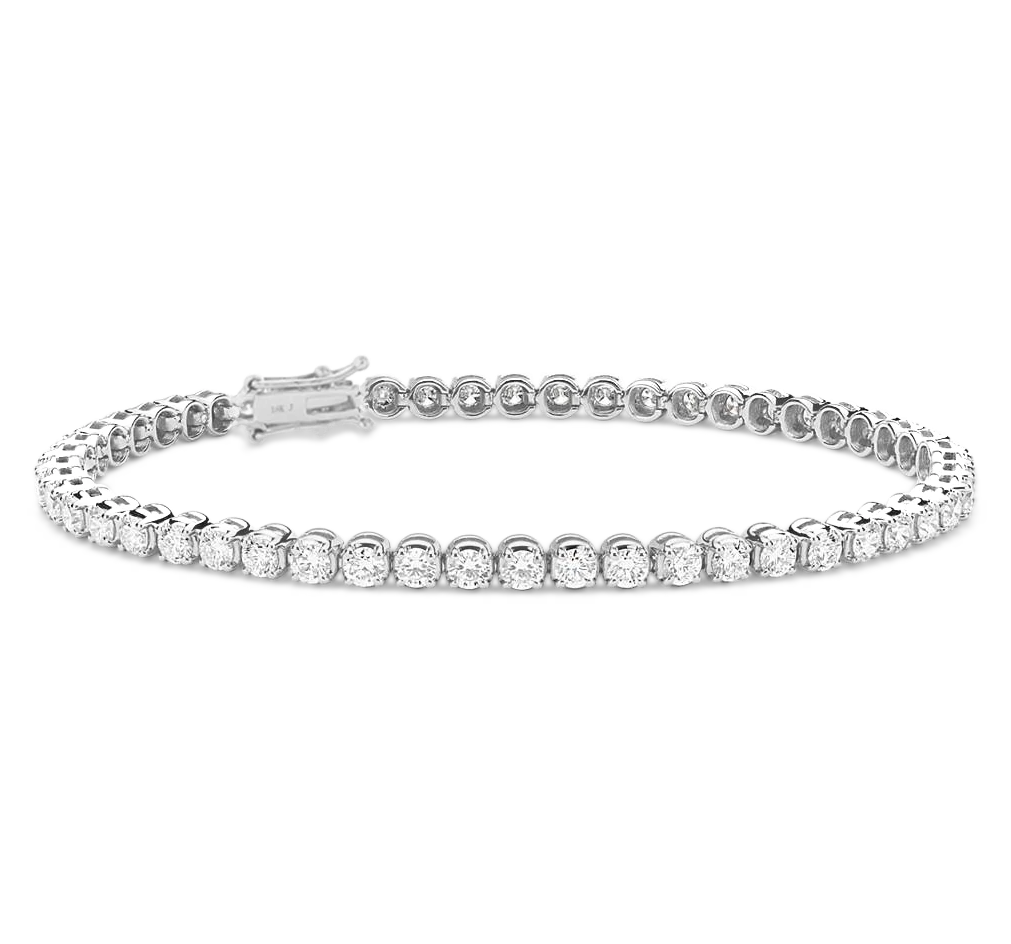 Athena 4 Prong Diamond Bracelet in 18k White Gold Vermeil