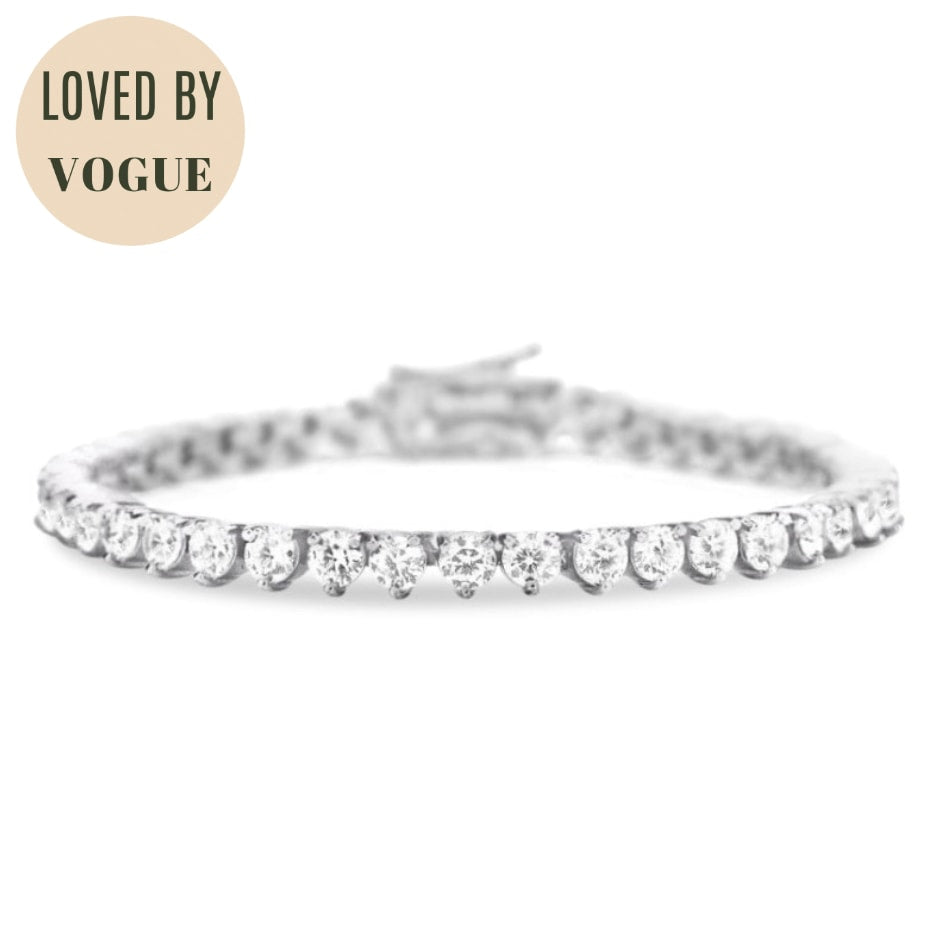 Vivere 3 Prong Diamond Bracelet in 18k White Gold Vermeil