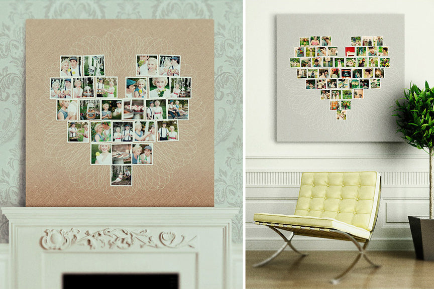 Its Love At First Sight With Heart Shaped Collage Canvases Design