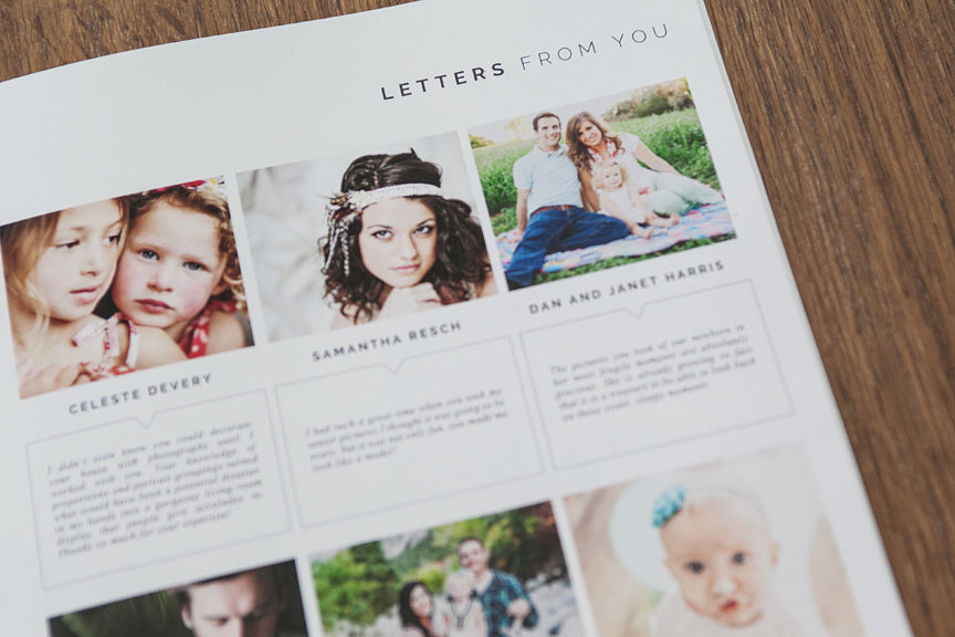 minimalist style portrait magazine templates for professional photographers