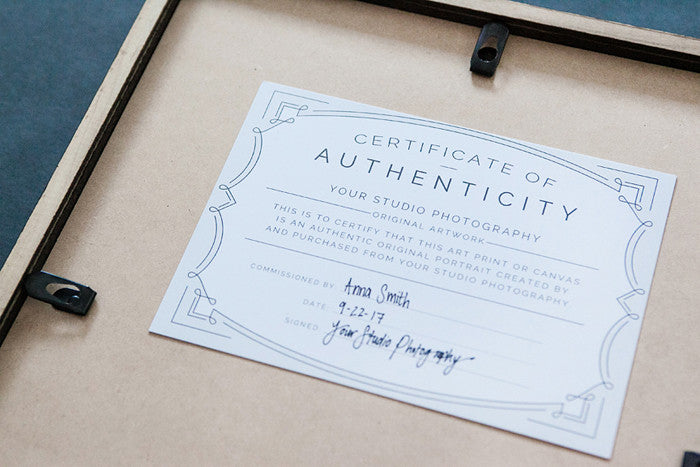 certificate of authenticity photography template - copyright authentication bundle for photographers