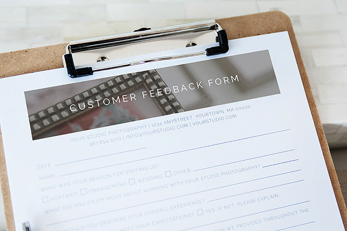 Customer Feedback Form For Professional Photographers  Design Aglow