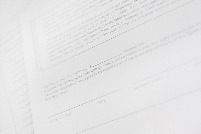 Legal Contract Template For Wedding Photographers  Design Aglow