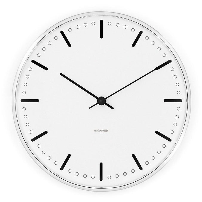Arne Jacobsen City Hall Wall Clock 29cm, Black/White