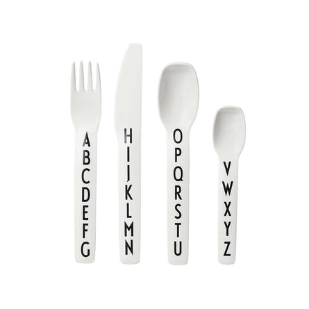 Design Letters Kids Cutlery Set, White