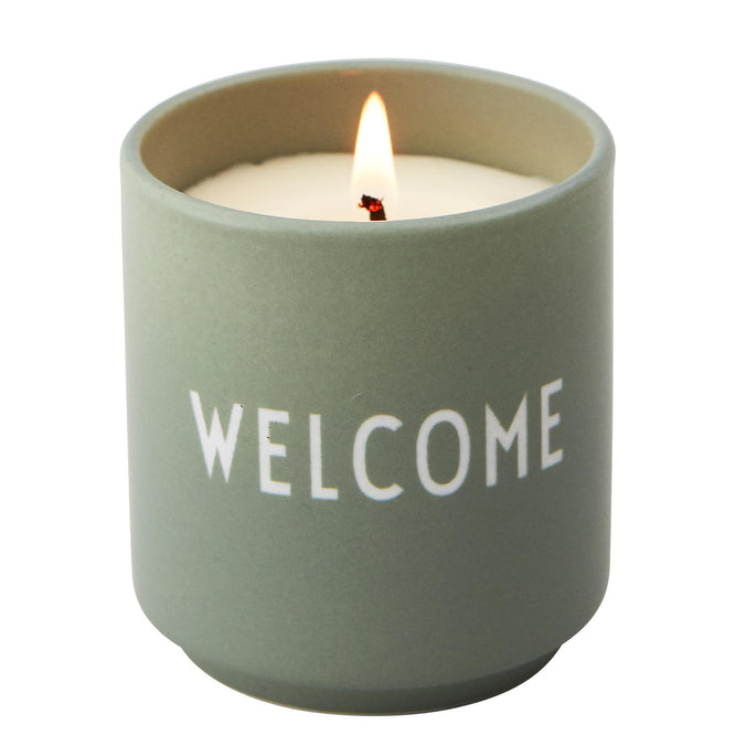 Design Letters Scented Candle Light Green, Welcome