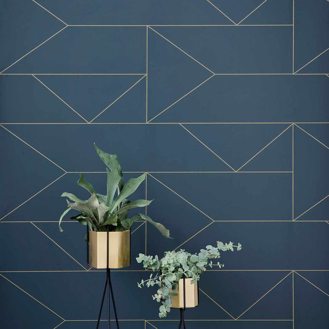 Ferm Living Lines Wallpaper, Dark Blue