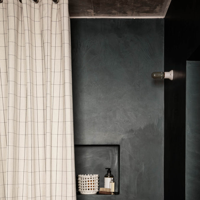 Ferm Living Chambray Grid Shower Curtain, Sand