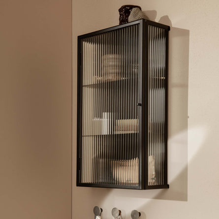 Ferm Living Haze Wall Cabinet, Black/ Reeded Glass