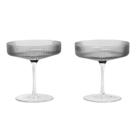 Ferm Living Ripple Champagne Saucer, Set of 2, Smoked Grey