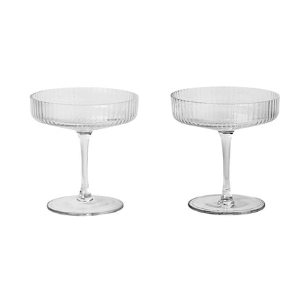 Ferm Living Ripple Champagne Saucer, Set of 2