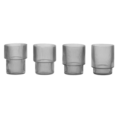 Ferm Living Ripple Glass, Set of 4, Smoked Grey