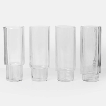 Ferm Living Ripple Long Drink Glasses, Set of 4