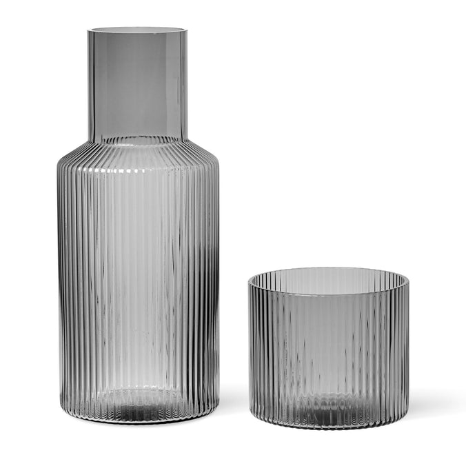 Ferm Living Ripple Small Carafe Set, Smoked Grey