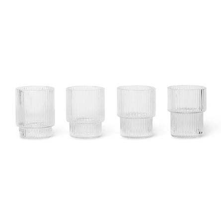Ferm Living Ripple Shot Glasses, Set of 4, Clear
