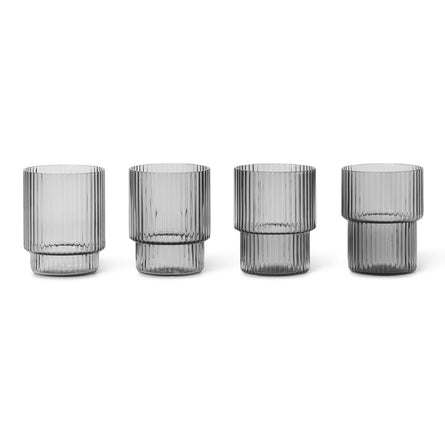 Ferm Living Ripple Shot Glasses, Set of 4, Smoked