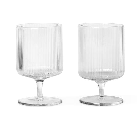 Ferm Living Ripple Wine Glasses, Set of 2, Clear