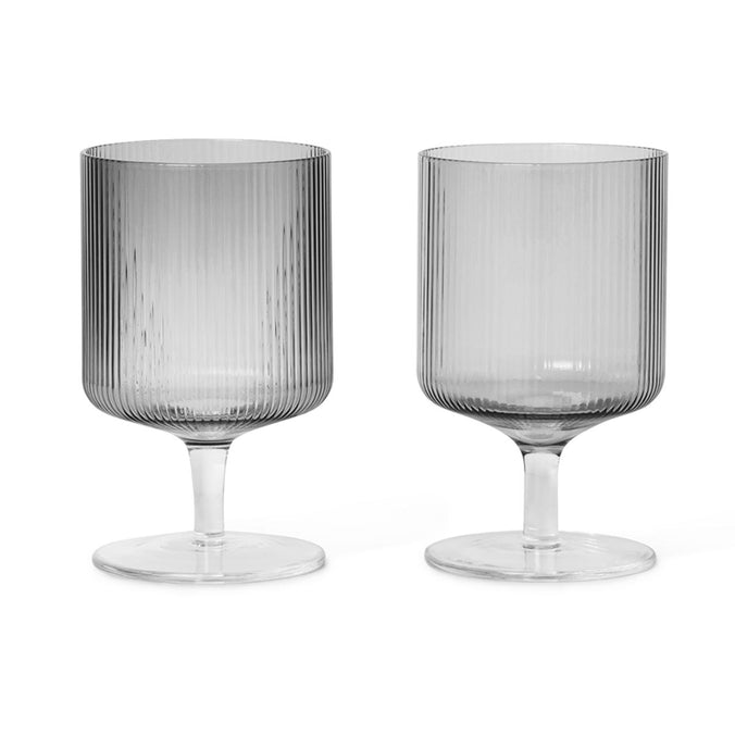 Ferm Living Ripple Wine Glasses, Set of 2, Smoked
