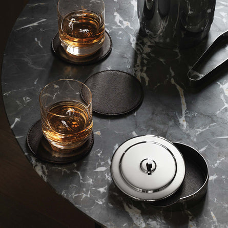 Georg Jensen Manhattan Coaster Set, Leather & Stainless Steel