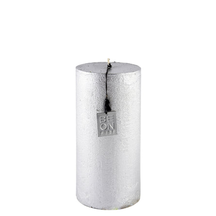 Be on Fire Rustic Pillar Candle Medium, Silver