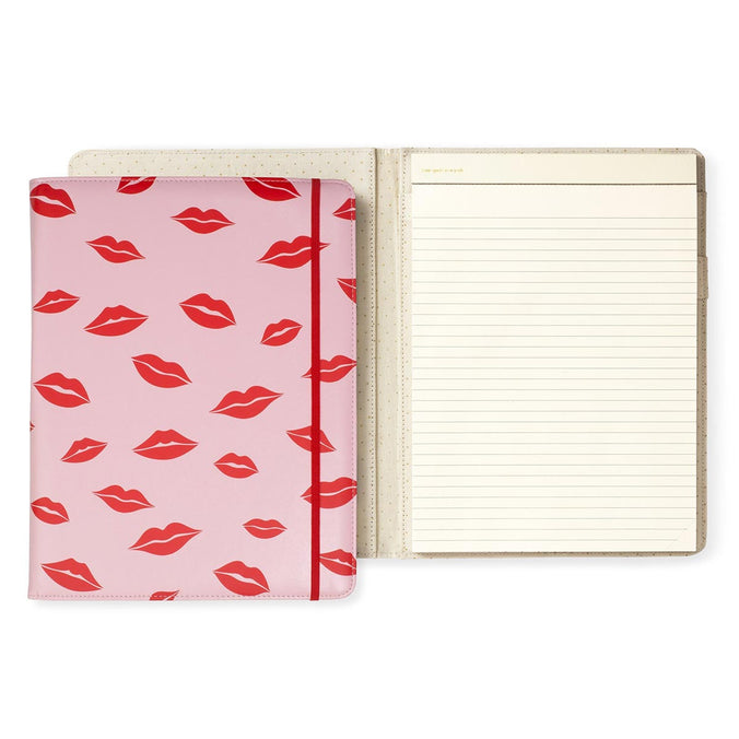 kate spade new york Leatherette Folio Notepad, Lips