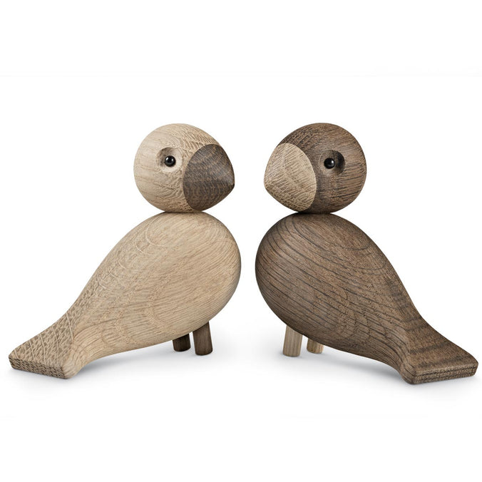 Kay Bojesen Lovebirds Pair, Oak & Smoked Oak