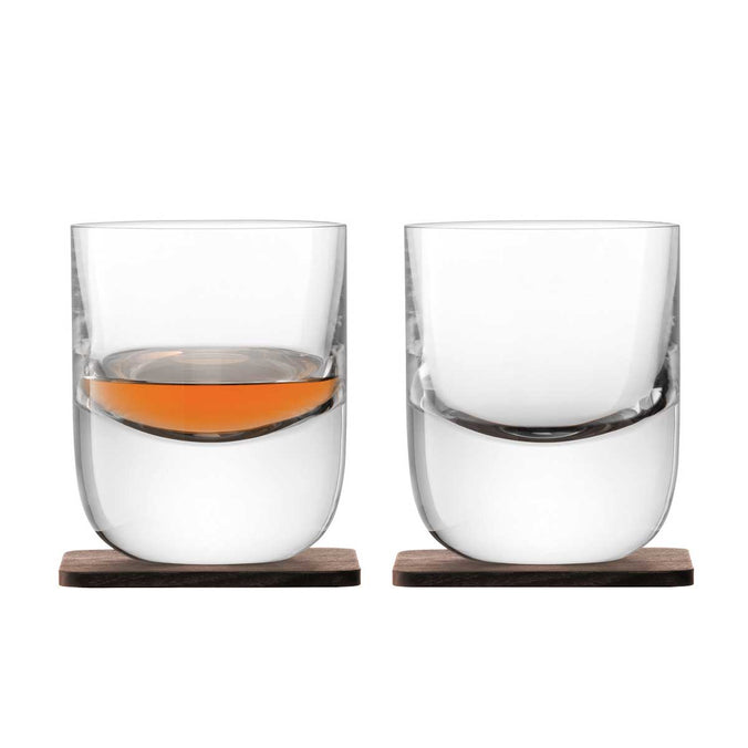 LSA Whisky Renfrew Tumbler & Walnut Coaster 270ml, Set of 2