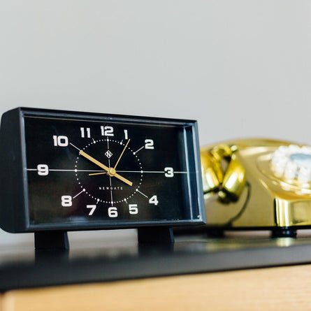 Newgate Clocks Wideboy Mantel Alarm Clock, Black on Black